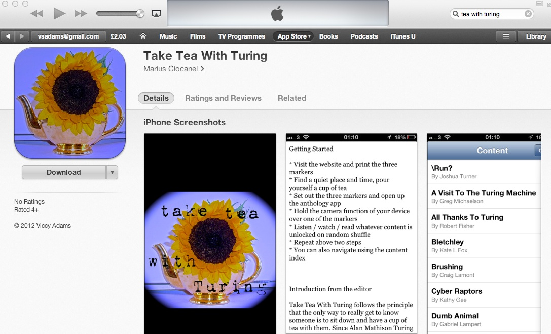 Take Tea With Turing anthology app AVAILABLE NOW for freedownload