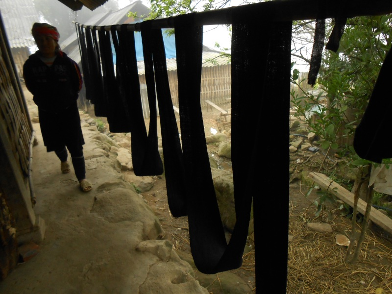 dyed fabric drying outside