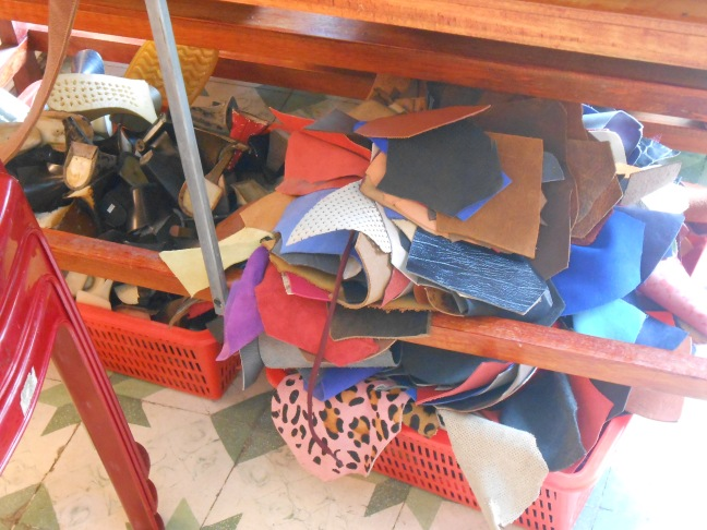Leather samples in the handmade shoe store